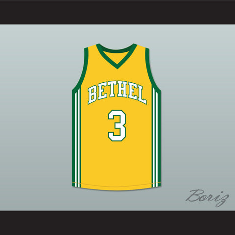 Allen Iverson 3 Bethel High School Yellow Basketball Jersey