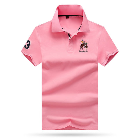 Aoliwen brand men Summer polos para hombre Pink polo shirt men breathable and quick-drying quality fabric men polo short shirts
