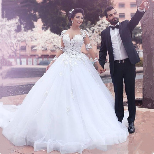 Arabic Dubai Wedding Dresses Ball Gown 2019 Long Sleeves robe de mariee  princesse Plus Size Bridal Gowns Vestidos De Noiva