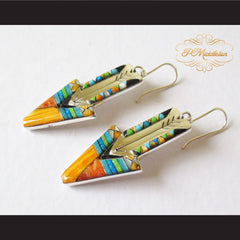 P Middleton Shooting Arrow Earrings Sterling Silver .925 with Micro Stone Inlay - borizcustom - 3