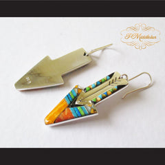 P Middleton Shooting Arrow Earrings Sterling Silver .925 with Micro Stone Inlay - borizcustom - 4