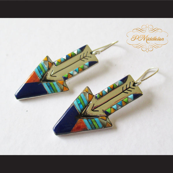 P Middleton Shooting Arrow Earrings Sterling Silver .925 with Micro Stone Inlay - borizcustom - 1
