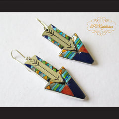 P Middleton Shooting Arrow Earrings Sterling Silver .925 with Micro Stone Inlay - borizcustom - 2