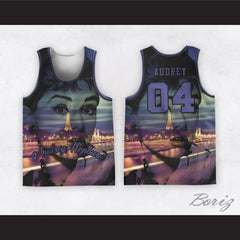 Audrey Hepburn 04 Smoking Cigarette Eiffel Tower at Night Basketball Jersey