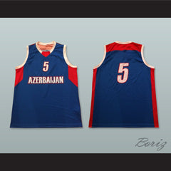 Azerbaijan 5 National Team Basketball Jersey - borizcustom