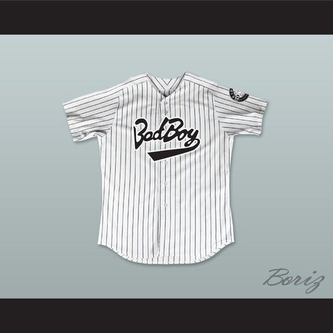 Biggie Smalls 10 Bad Boy Pinstriped Baseball Jersey with 20 Years Patch - borizcustom - 1