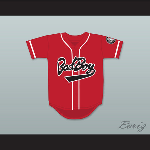 Biggie Smalls 10 Bad Boy Red Baseball Jersey with 20 Years Patch - borizcustom - 1