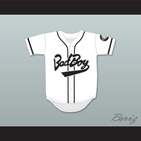 Biggie Smalls 10 Bad Boy White Baseball Jersey with 20 Years Patch - borizcustom - 1