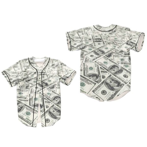 Tupac Shakur Baseball Jersey Cash Money Hip Hop Biggie Bills Dollar Shirt 100s