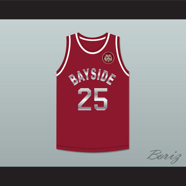 be1e51b218d Product Image Saved By The Bell Zack Morris 25 Bayside Tigers Maroon Basketball  Jersey Includes Tiger Patch ...