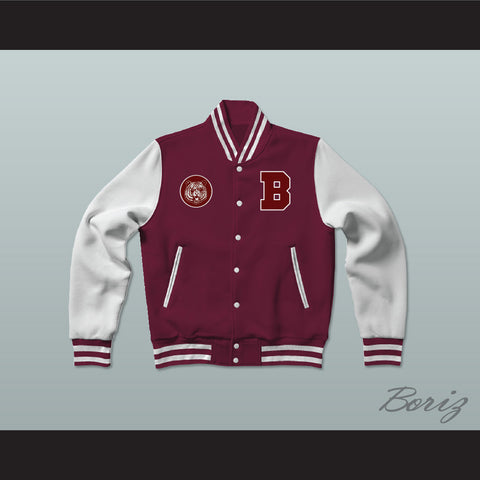 Bayside Tigers Maroon Varsity Letterman Jacket-Style Sweatshirt Saved By The Bell - borizcustom - 1