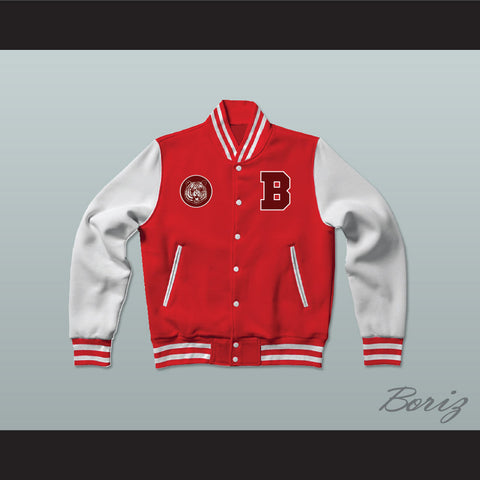 Bayside Tigers Red Varsity Letterman Jacket-Style Sweatshirt Saved By The Bell - borizcustom - 1