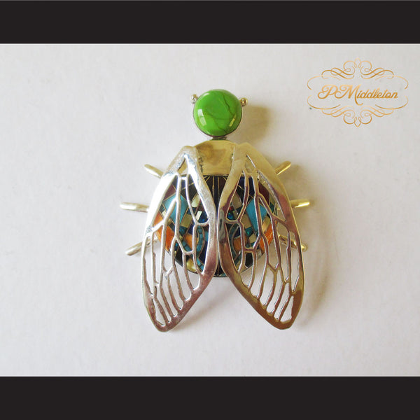 P Middleton Winged Beetle Pendant Sterling Silver .925 with Micro Inlay Stones - borizcustom - 1