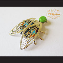 P Middleton Winged Beetle Pendant Sterling Silver .925 with Micro Inlay Stones - borizcustom - 2