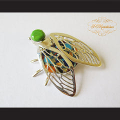 P Middleton Winged Beetle Pendant Sterling Silver .925 with Micro Inlay Stones - borizcustom - 3