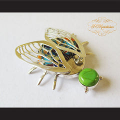 P Middleton Winged Beetle Pendant Sterling Silver .925 with Micro Inlay Stones - borizcustom - 4