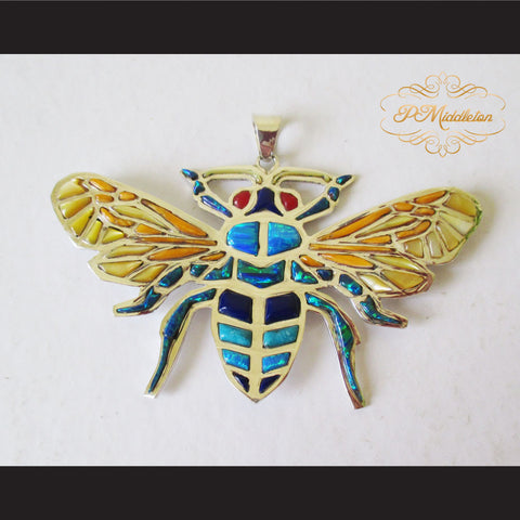 P Middleton Bee Pendant Sterling Silver .925 with Micro Inlay Stones - borizcustom