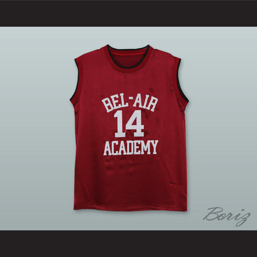 459045930 The Fresh Prince of Bel-Air Will Smith Bel-Air Academy Maroon Silk  Basketball