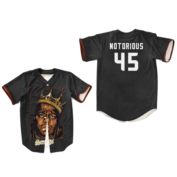 Biggie Smalls Crown Brooklyn Baseball Jersey Notorious Tupac hip hop