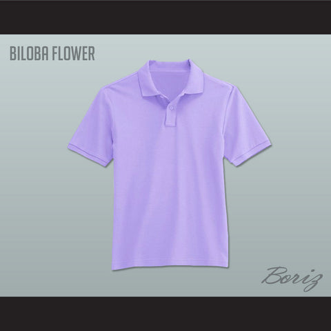 Men's Solid Color Biloba Flower Polo Shirt - borizcustom