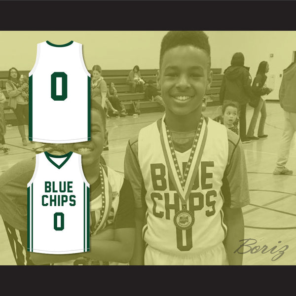 best sneakers 1cf97 f451e Lebron James Jr 0 Blue Chips White Basketball Jersey 1