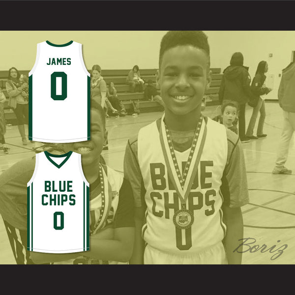 100% authentic c0897 fc0b5 Lebron James Jr 0 Blue Chips White Basketball Jersey 2