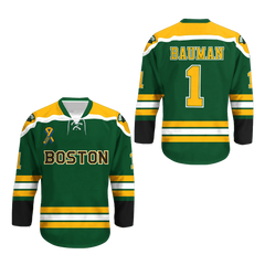 Jeff Bauman 1 Boston Black Hockey Jersey Stronger Colors