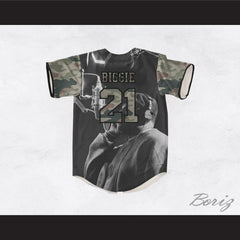 Biggie Smalls 21 Green Camouflage Brooklyn's Finest Baseball Jersey