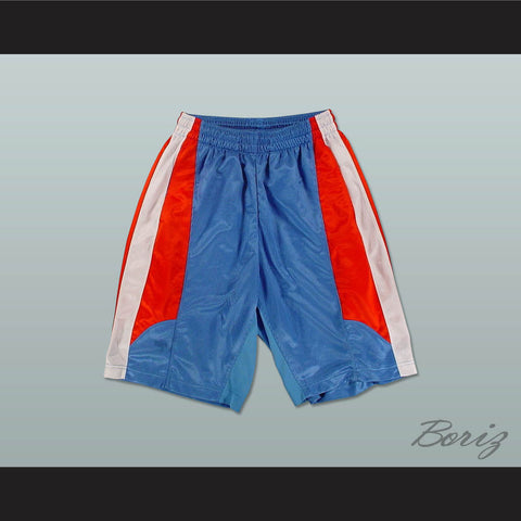 Light Blue Red and White Basketball Shorts All Sizes - borizcustom