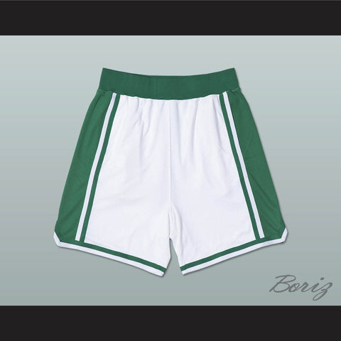 White and Green Basketball Shorts All Sizes - borizcustom