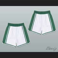 White and Green Basketball Shorts All Sizes - borizcustom - 3