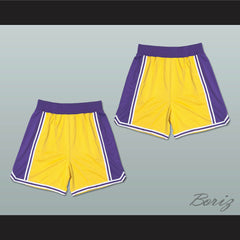 Yellow Purple and White Basketball Shorts All Sizes - borizcustom - 3