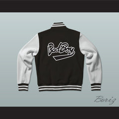 Bad Boy Entertainment Black Varsity Letterman Jacket-Style Sweatshirt - borizcustom - 2
