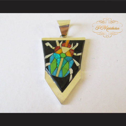 P Middleton Beetle Pendant Sterling Silver .925 with Micro Inlay Stones - borizcustom