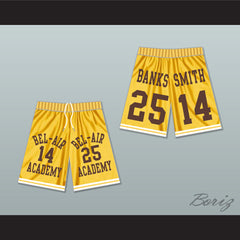 Carlton Banks 25/ Will Smith 14 Bel-Air Academy Yellow Basketball Shorts