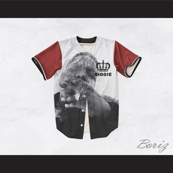The Notorious B.I.G. 21 Maroon Sleeve Crown Design Baseball Jersey