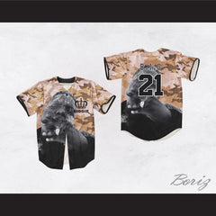 The Notorious B.I.G. 21 Tan Camouflage Crown Design Baseball Jersey