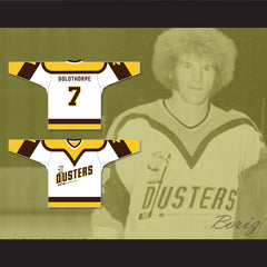 Bill 'Goldie' Goldthorpe 7 Binghamton Broome Dusters White Hockey Jersey
