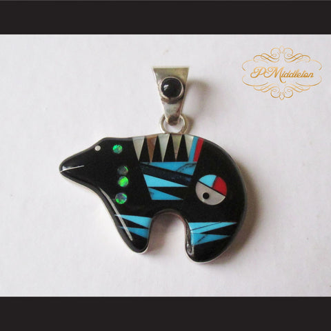 P Middleton Black Bear Pendant Sterling Silver .925 with Micro Inlay Stones - borizcustom