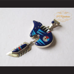 P Middleton Blue Bear Pendant Sterling Silver .925 with Micro Inlay Stones - borizcustom
