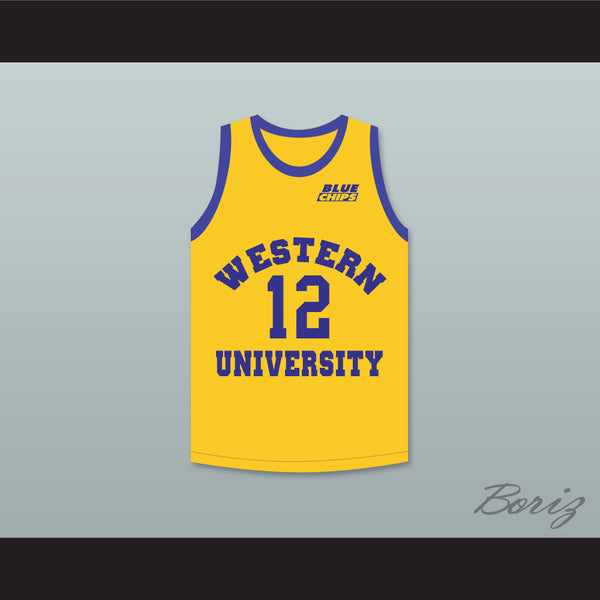Action Bronson 12 Western University Yellow Basketball Jersey with Blue Chips Patch - borizcustom