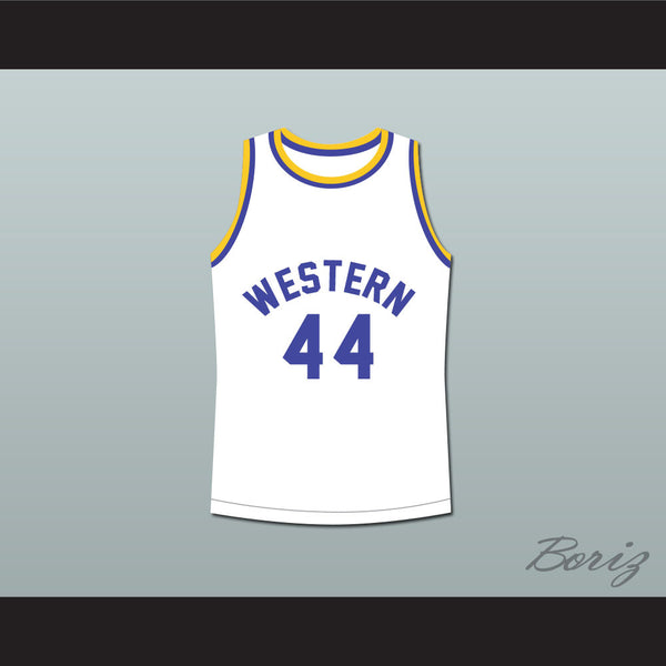 Anthony C Hall Tony the Point Shaver 44 Western University Dolphins White Basketball Jersey Blue Chips - borizcustom