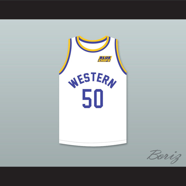 Shaq Neon Boudeaux 50 Western University White Basketball Jersey with Blue Chips Patch - borizcustom - 1