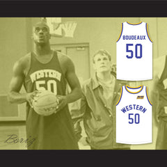 Shaq Neon Boudeaux 50 Western University White Basketball Jersey with Blue Chips Patch - borizcustom - 3