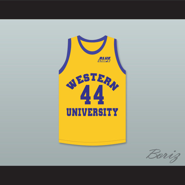 Anthony C Hall Tony the Point Shaver 44 Western University Yellow Basketball Jersey with Blue Chips Patch - borizcustom