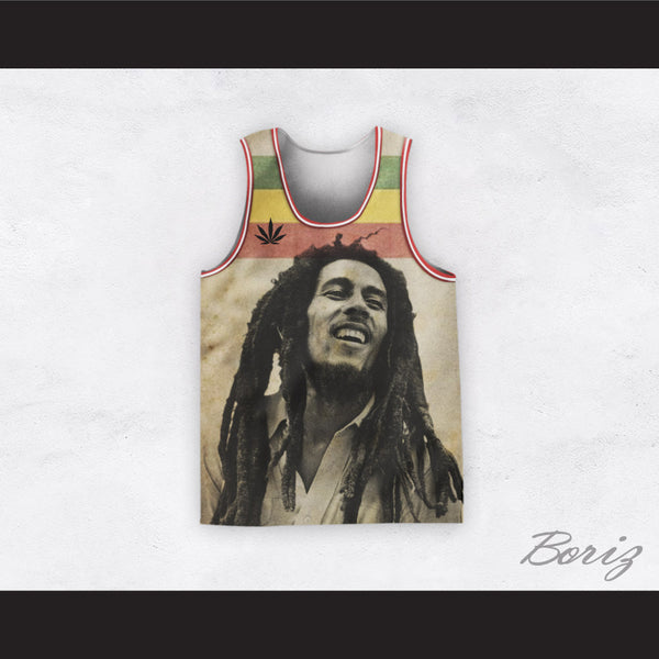 Bob Marley 20 Retro Style Cannabis Black and White Portrait Basketball Jersey