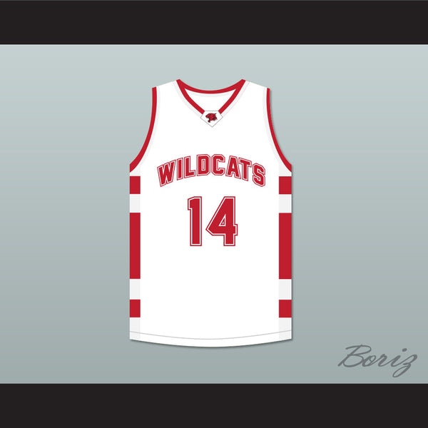 d2df3eafde6 Troy Bolton 14 East High School Wildcats White Basketball Jersey