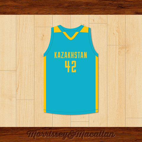 Borat Sagdiyev 42 Glorious Nation of Kazakhstan Basketball Jersey by Morrissey&Macallan - borizcustom