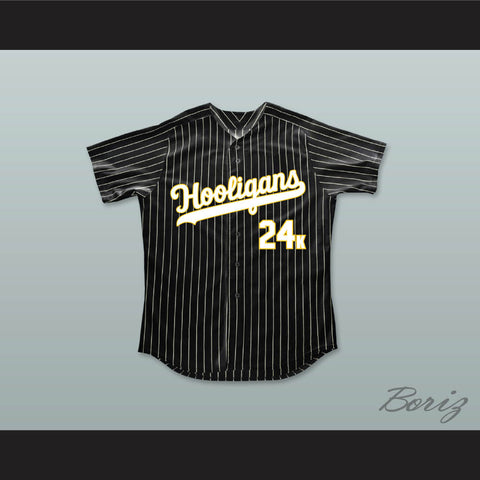 Mars 24K Hooligans Black Pinstriped Baseball Jersey