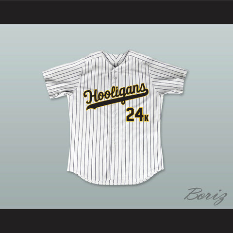 Mars 24K Hooligans White Pinstriped Baseball Jersey